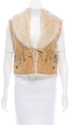 Ralph Lauren Embroidered Shearling Vest