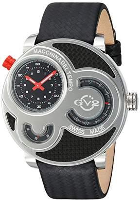 GV2 by Gevril Macchina Del Tempo Mens Swiss Quartz Carbon Fiber Pattern Leather Strap Watch