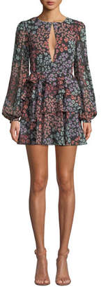 Lovers And Friends Carter Tiered Floral Long-Sleeve Short Dress