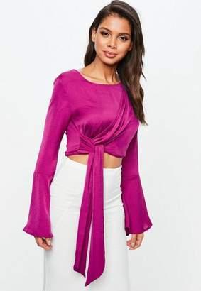 Missguided Purple Drape Long Tie Side Top
