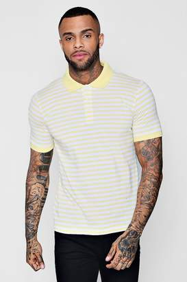 boohoo Yarn Dye Stripe Polo Neck T-Shirt