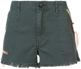 The Great embroidered trim frayed shorts