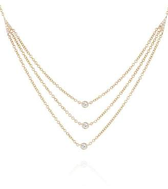 Ef Collection 14K Rose Gold Diamond Bezel Triple Layer Necklace - 0.14 ctw