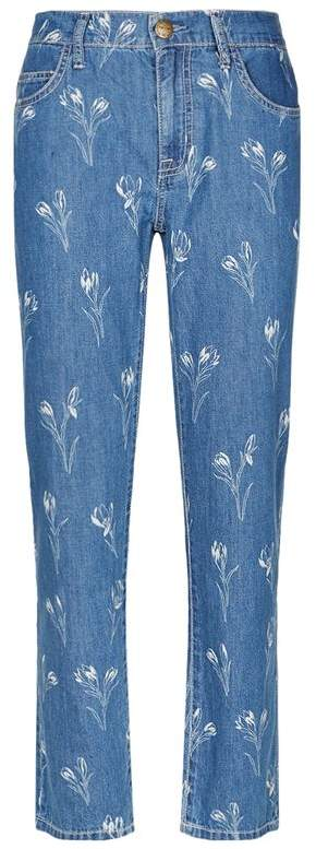 Current Elliott Fling Flower Print High-Rise Jeans