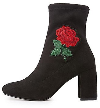 Charlotte Russe Rose Embroidered Ankle Boots