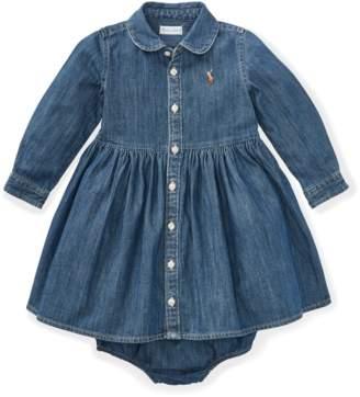Ralph Lauren Kids Shirred Denim Shirtdress