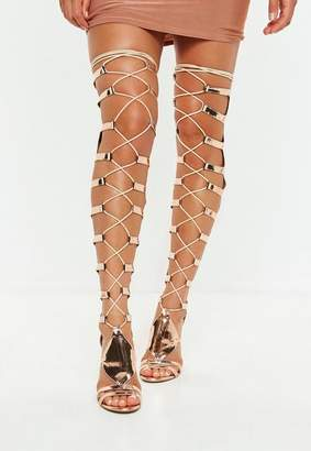 Missguided Rose Gold High Leg Heeled Gladiator Sandals