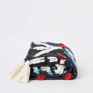 River Island Navy textured throw