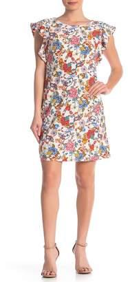 ECI Flutter Sleeve Crew Neck Floral Dress