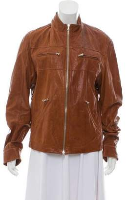 Brunello Cucinelli Leather Zip-Up Jacket
