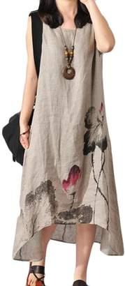 Frieed Women's Floral Print Asymmetrical Linen Round Neck Sleeveless Loose Long Dress L