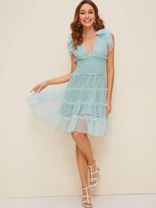 Shein Knot Shoulder Plunging Neck Mesh Overlay Dress