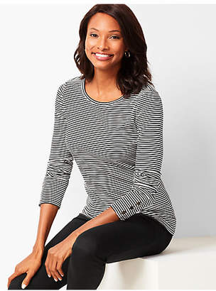 Talbots Stripe Long-Sleeve Button-Cuff Tee
