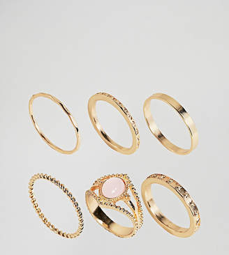 Asos DESIGN Curve exclusive pack of 6 vintage style rings in gold