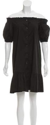 Prada Sport Off-The-Shoulder Button-Up Mini Dress