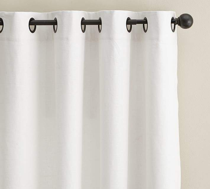 Emery Linen/Cotton Grommet Drape - White