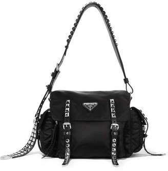Prada Studded Leather-trimmed Shell Shoulder Bag