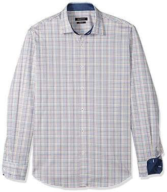 Bugatchi Men's Long Sleeve Fitted Madras Check Point Collar Shirt