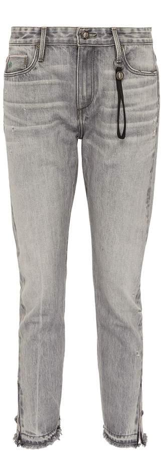Tortoise Denim 'Timmy' button frayed cuff skinny jeans