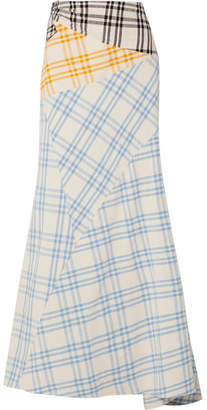 Rosie Assoulin Paneled Checked Cotton Maxi Skirt - Light blue