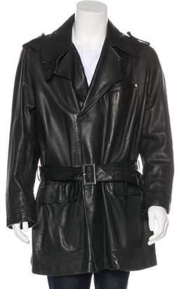 Saint Laurent Leather Belted Coat