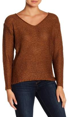 Modern Designer V-Neck Knit Faux Suede Elbow Patch Sweater