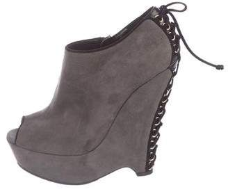 Saint Laurent Suede Peep-Toe Wedge Booties