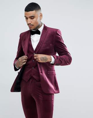 Asos DESIGN super skinny suit jacket in burgundy velvet