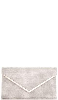 Quiz Silver Diamante Envelope Bag