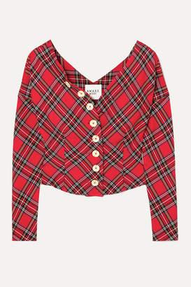 A.W.A.K.E. Mode Highlander Non Monroe Off-the-shoulder Tartan Twill Top - Red