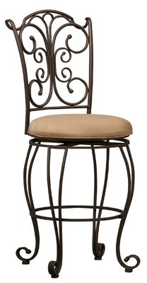 Fleur De Lis Living Metal Counter Stool With Cushioned Seat And Scrollwork Details, Brown Fleur De Lis Living