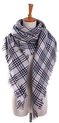 Generic Women's Tassel Plaid Oversized LChecked Scarf Warm Tartan Wrap Shawl