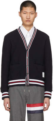 Thom Browne Navy Cricket Stripe Cardigan