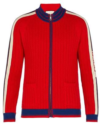 Gucci Tape Logo Cable Knit Wool Bomber - Mens - Red