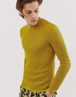 Asos Design DESIGN knitted muscle fit sheer mesh sweater in mustard