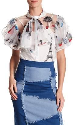 Gracia Sheer Embroidered Ruffle Sleeve Blouse