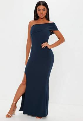 Missguided Tall Navy One Shoulder Maxi Dress