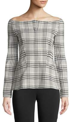 Theory Off-the-Shoulder Long-Sleeve Brea Check Jacket
