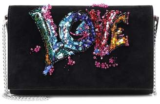 Christian Louboutin Paloma embellished suede clutch