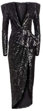 Elie Saab Women's Sequin Wrap Gown - Black - Size 42 (10)