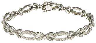 14K White Gold with Diamond Link Bead Bracelet