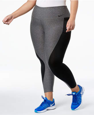 Nike Plus Size Dri-fit Mesh-Inset High-Rise Cropped Leggings