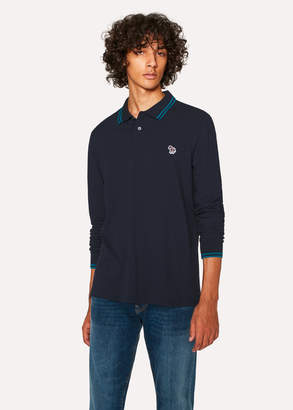 Paul Smith Men's Navy Zebra Long-Sleeve Polo Shirt With Turquoise Tipping