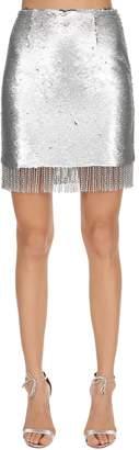 Sequined Mini Skirt W/ Fringe