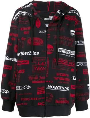 Love Moschino zip front logo print hoodie