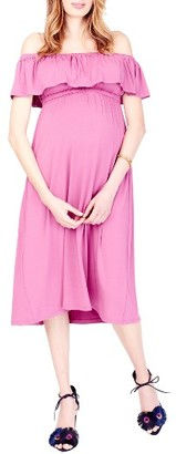 Women's Ingrid & Isabel Off The Shoulder Maternity Midi Dress $88 thestylecure.com