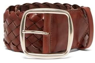 Etro Braided Leather Belt - Womens - Tan