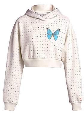 Frankie B. Women's Cropped Rhinestone Butterfly Hoodie
