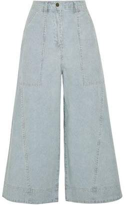 Ulla Johnson Giada Cropped Striped High-Rise Wide-Leg Jeans