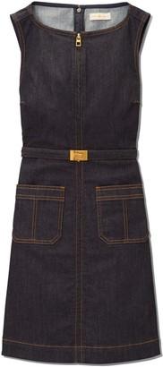 Zip-Front Denim Dress
